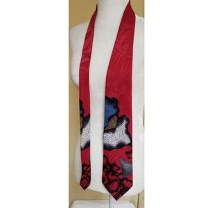 🤑 4/$25 Ketch Tie Red Blue Grey White Abstract